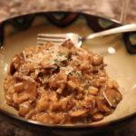 A bowl of creamy homemade mushroom risotto.