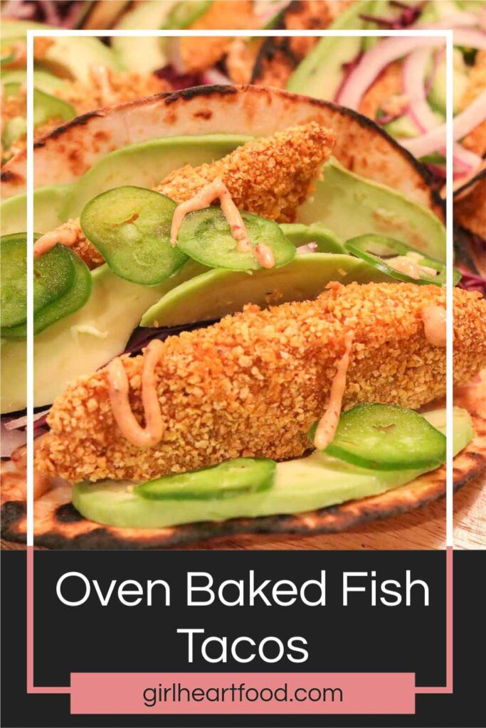 Oven baked fish taco drizzled with a chipotle sauce.