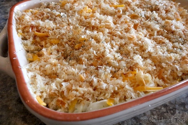 A casserole dish of cod au gratin before being baked.