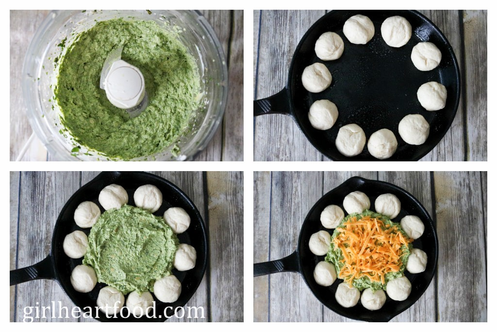 Collage of steps to make spinach artichoke dip.