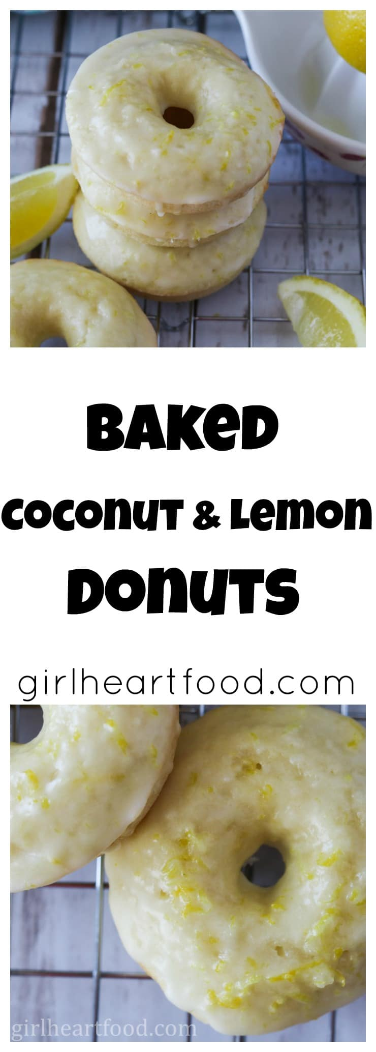 These Baked Coconut and Lemon Donuts are packed to the max with coconut and zesty lemon! There's three forms of coconut in these-coconut oil, shredded coconut and coconut extract. Plus, there's lots of fresh lemon zest and juice. #donuts #bakeddonuts #glazeddonuts #dessert #coconut #lemon