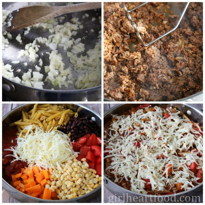 A photo collage on how to make an easy pasta bake.