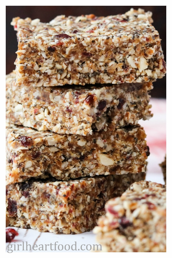 Close up of a stack of vegan granola bars.