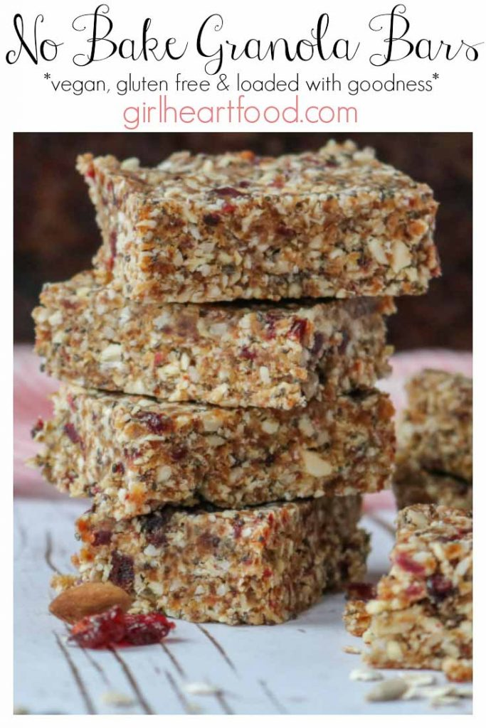 Stack of four homemade granola bars.
