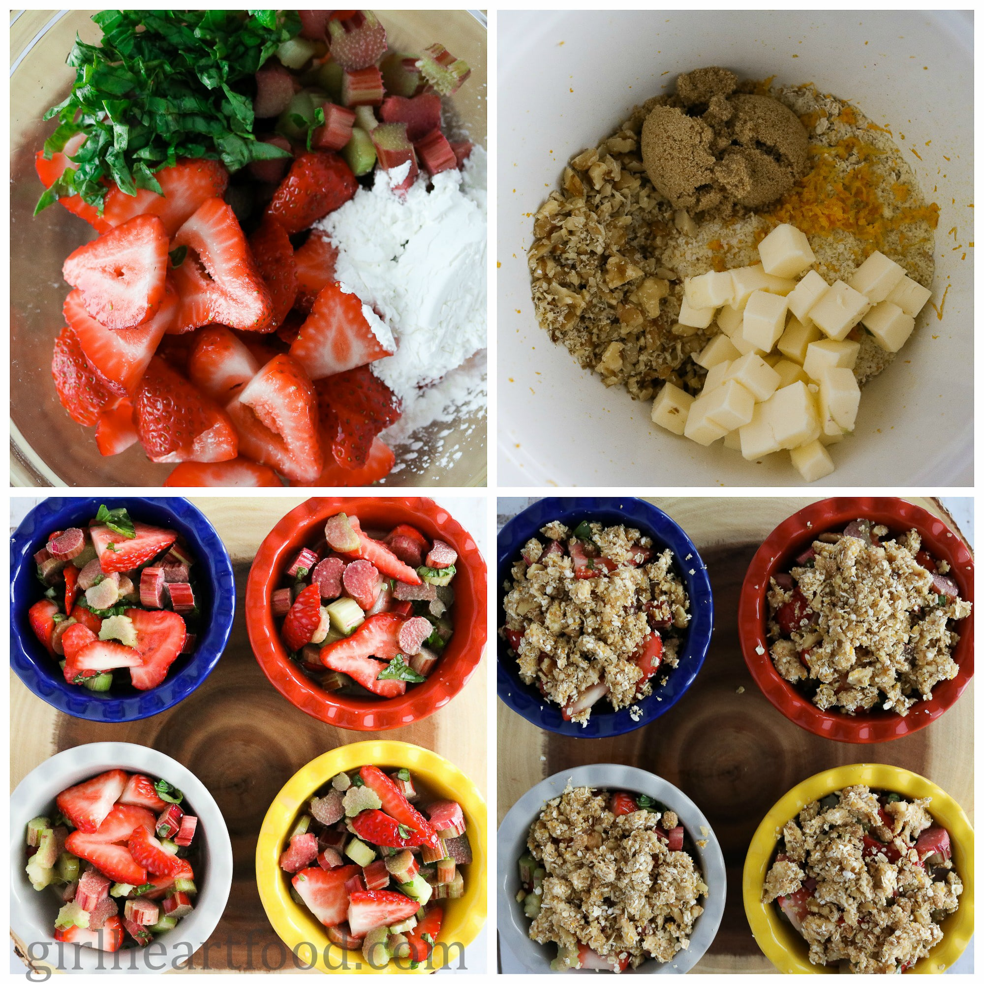 Photo collage of how to make strawberry rhubarb crisp recipe.