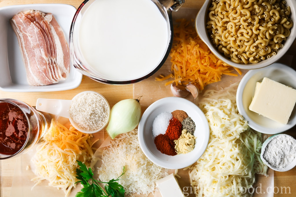 Ingredients for a creamy baked mac and cheese recipe.