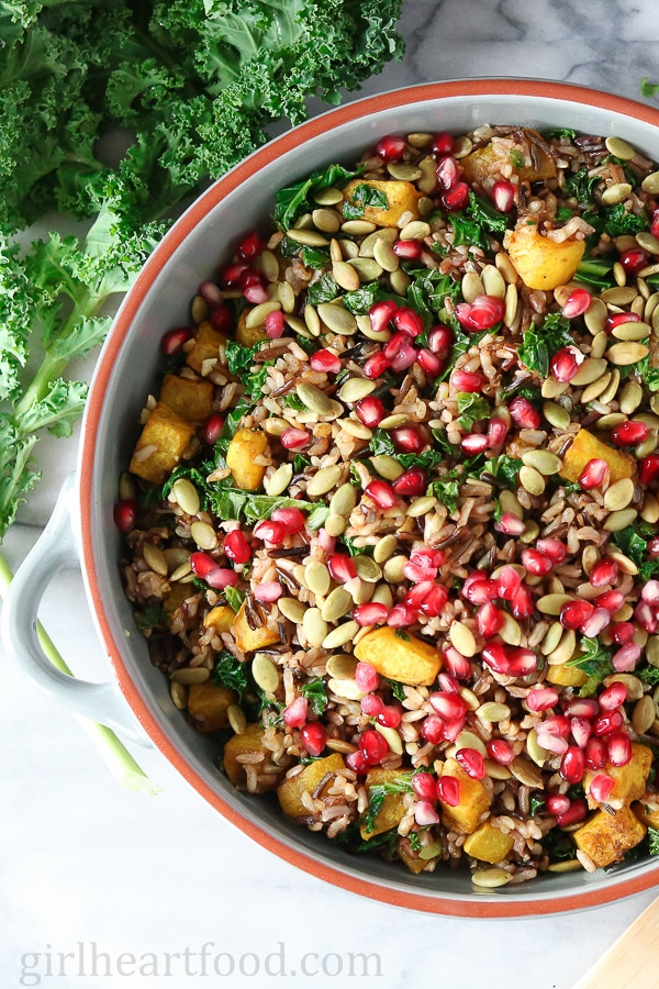Close up overhead shot of a bowl of harvest wild rice salad.
