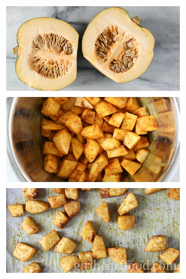 A photo collage of how to prepare acorn squash for roasting.