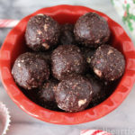 A dish of no bake peppermint chocolate snack bites.