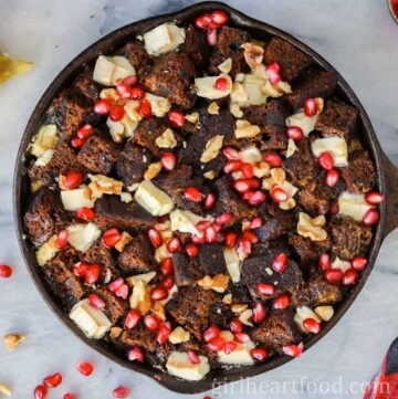 Skillet of fruit cake bread pudding.
