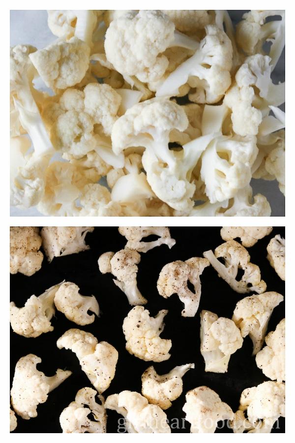 Oven Roasted Cauliflower with Tahini Yogurt Sauce - girlheartfood.com