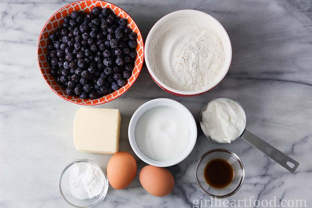 Ingredients for Easy Blueberry Muffins