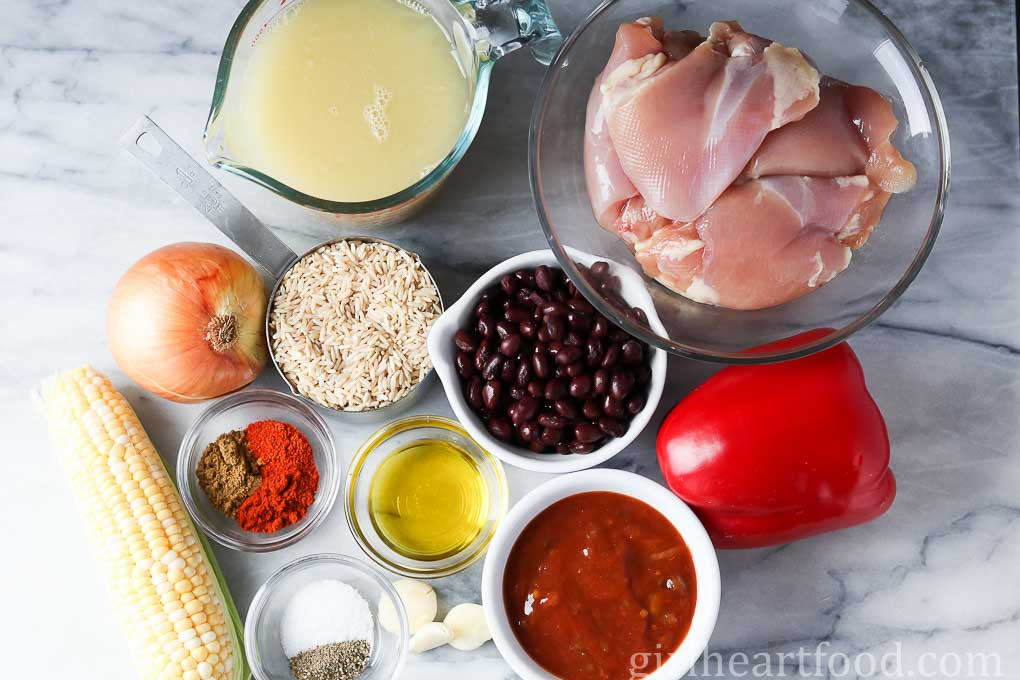 Ingredients for a southwest chicken and rice skillet.