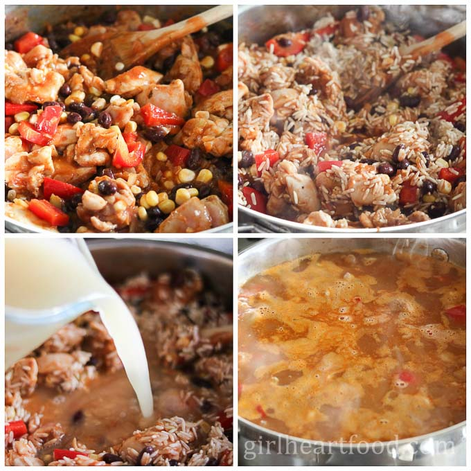 Photo collage of how to make a chicken and rice skillet.