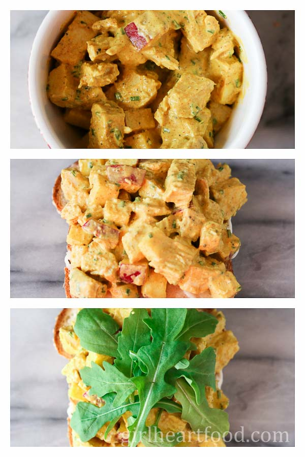 Collage of preparing a chicken salad sandwich with apples, curry and arugula.