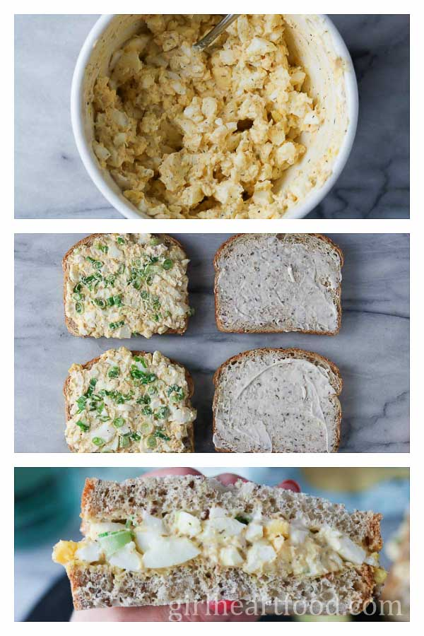 Photo collage on how to prepare an egg salad sandwich.