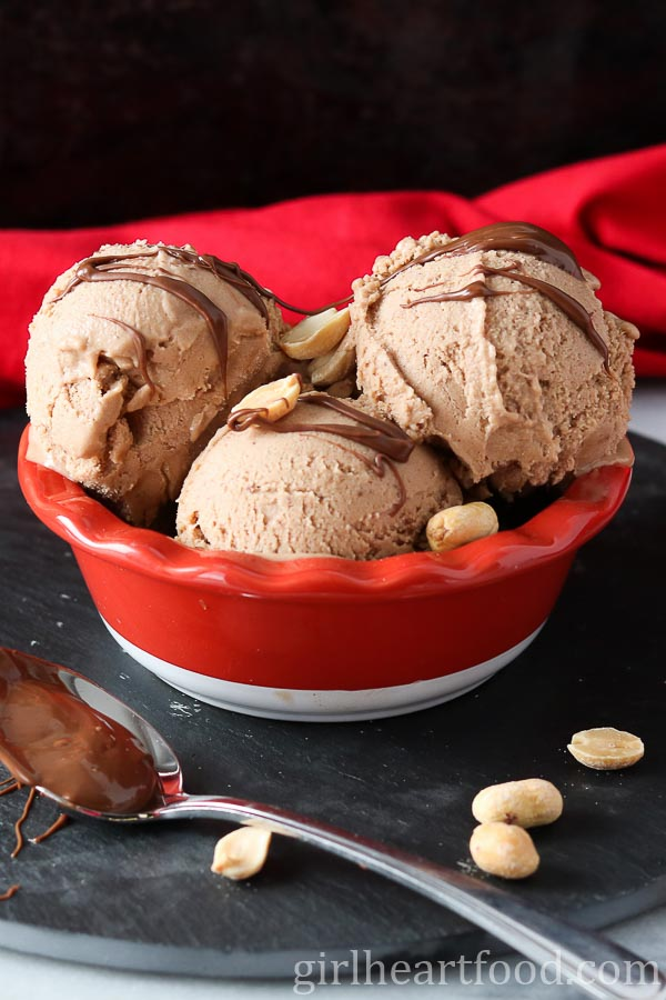 Peanut Butter Nutella Nice Cream made with Frozen Bananas