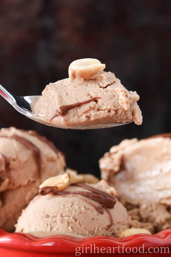Peanut Butter Nutella Nice Cream made with Frozen Bananas.