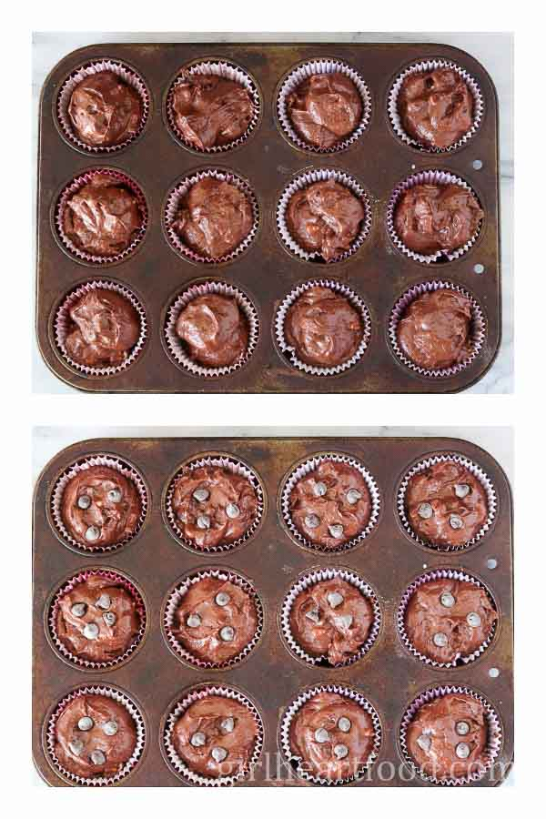 Triple Chocolate Muffins in muffin tin ready to be baked