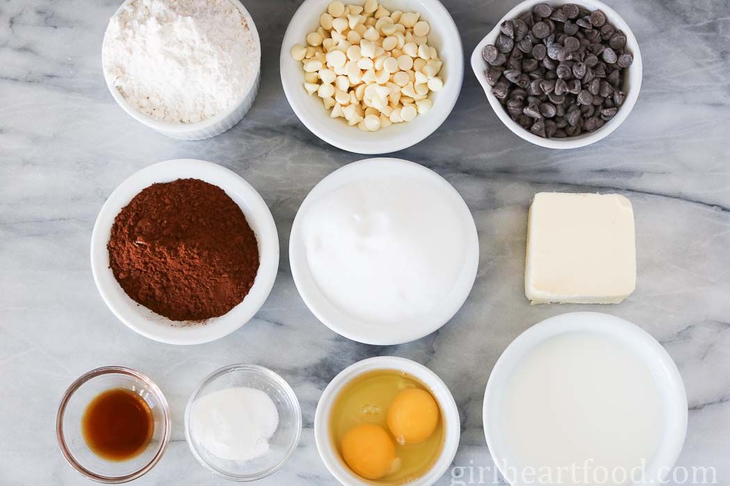 Ingredients for triple chocolate muffins