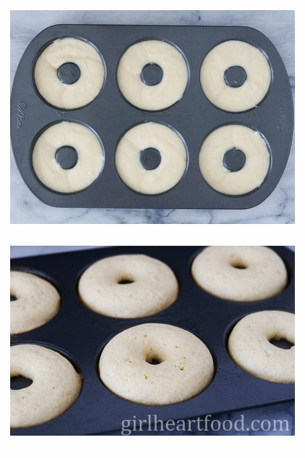 Collage of donut batter in a pan before baking and after baking.