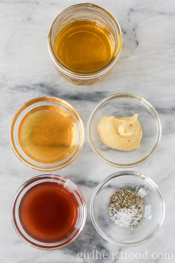 Ingredients of honey Dijon vinaigrette.