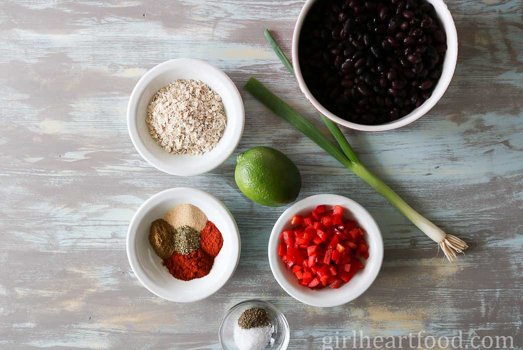 Ingredients for black bean burgers.