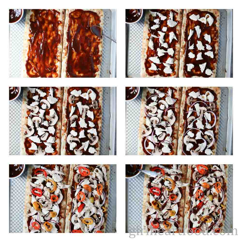 Step by step instructions on how to assemble a bbq chicken flatbread pizza recipe.