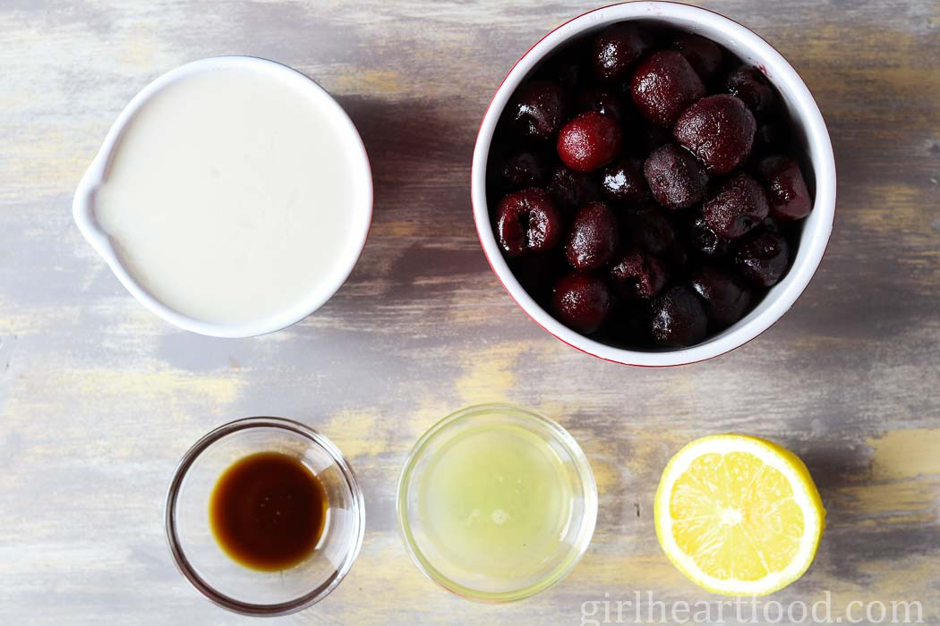 Ingredients for homemade cherry vanilla ice pops.