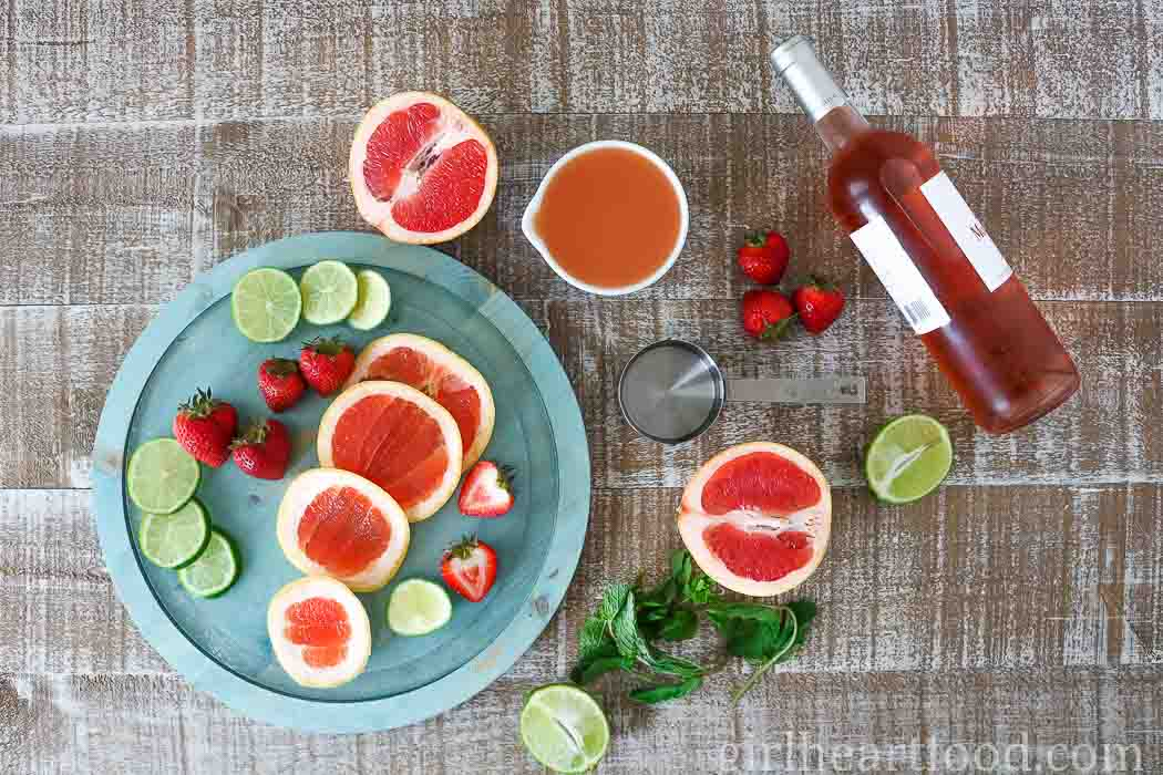 Ingredients for grapefruit rose sangria.