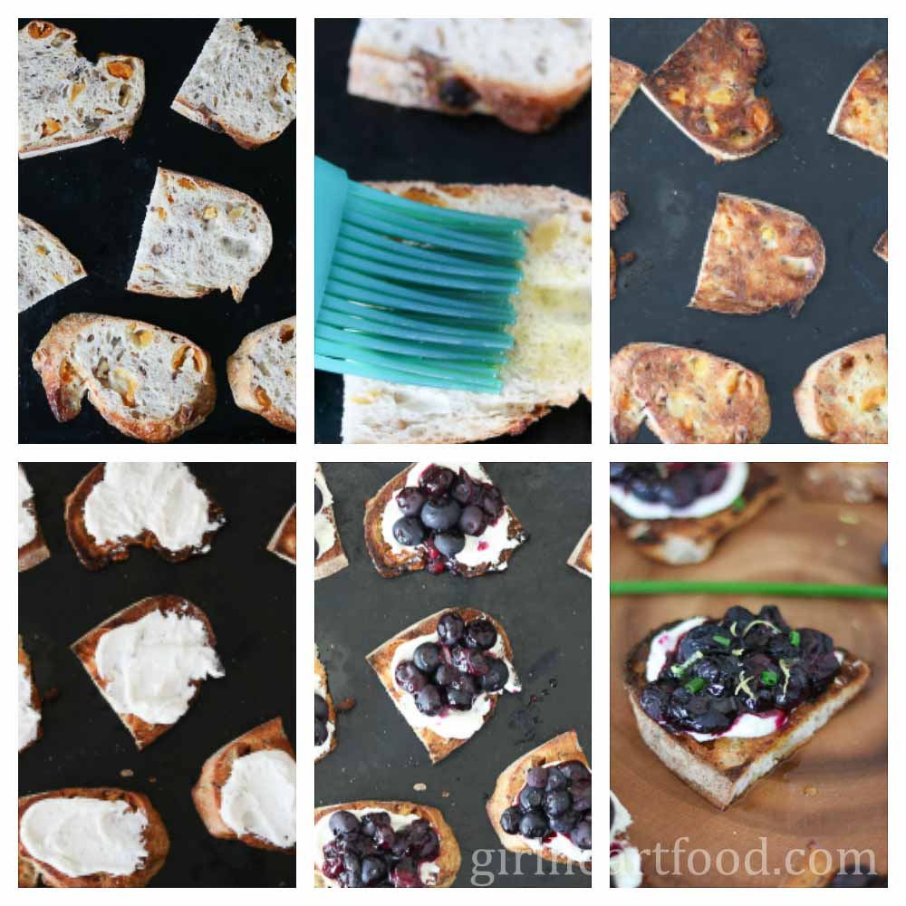 Step by step instructions on how to assemble a blueberry goat cheese crostini recipe.