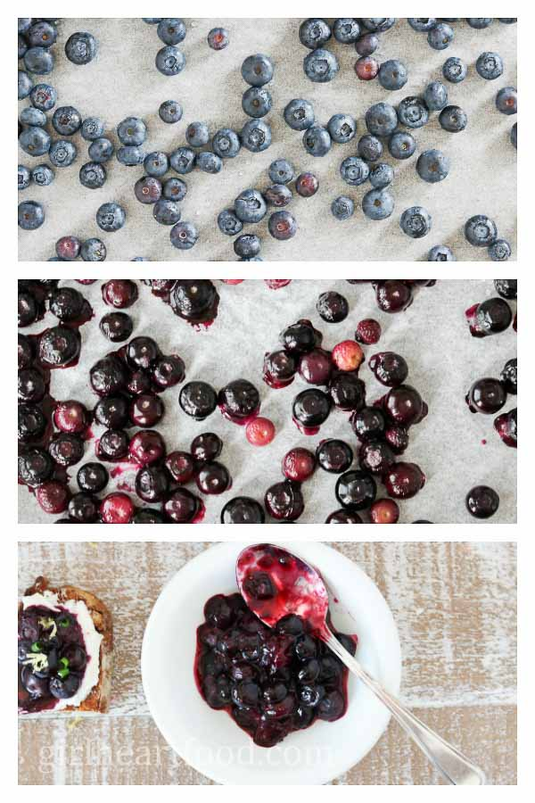 Photo collage showing before and after roasting blueberries.
