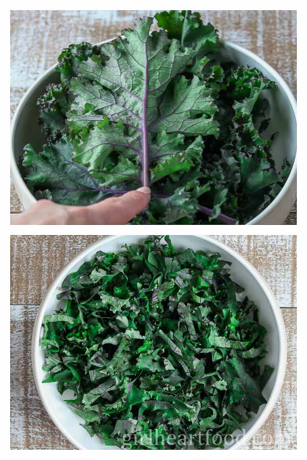 A photo collage of fresh kale.