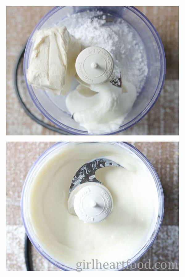 A photo collage for making the cheesecake mixture for no bake dessert in a jar.