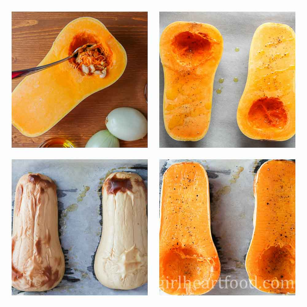 Collage of how to prepare and roast butternut squash.