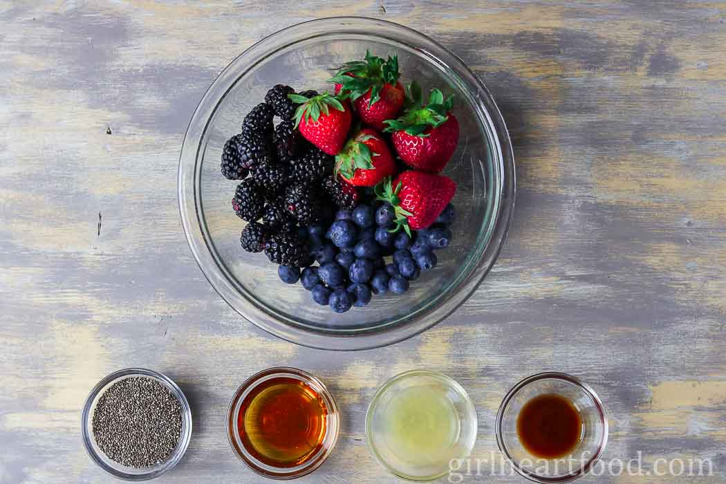 Ingredients for mixed berry chia seed jam.
