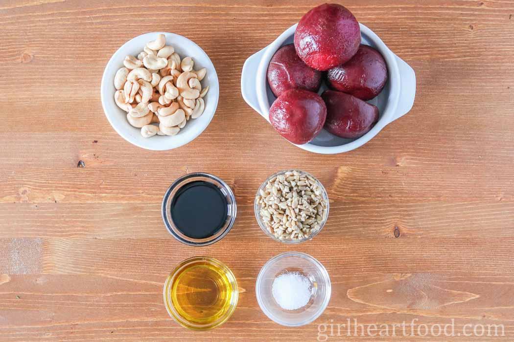 Ingredients for beet cashew dip.