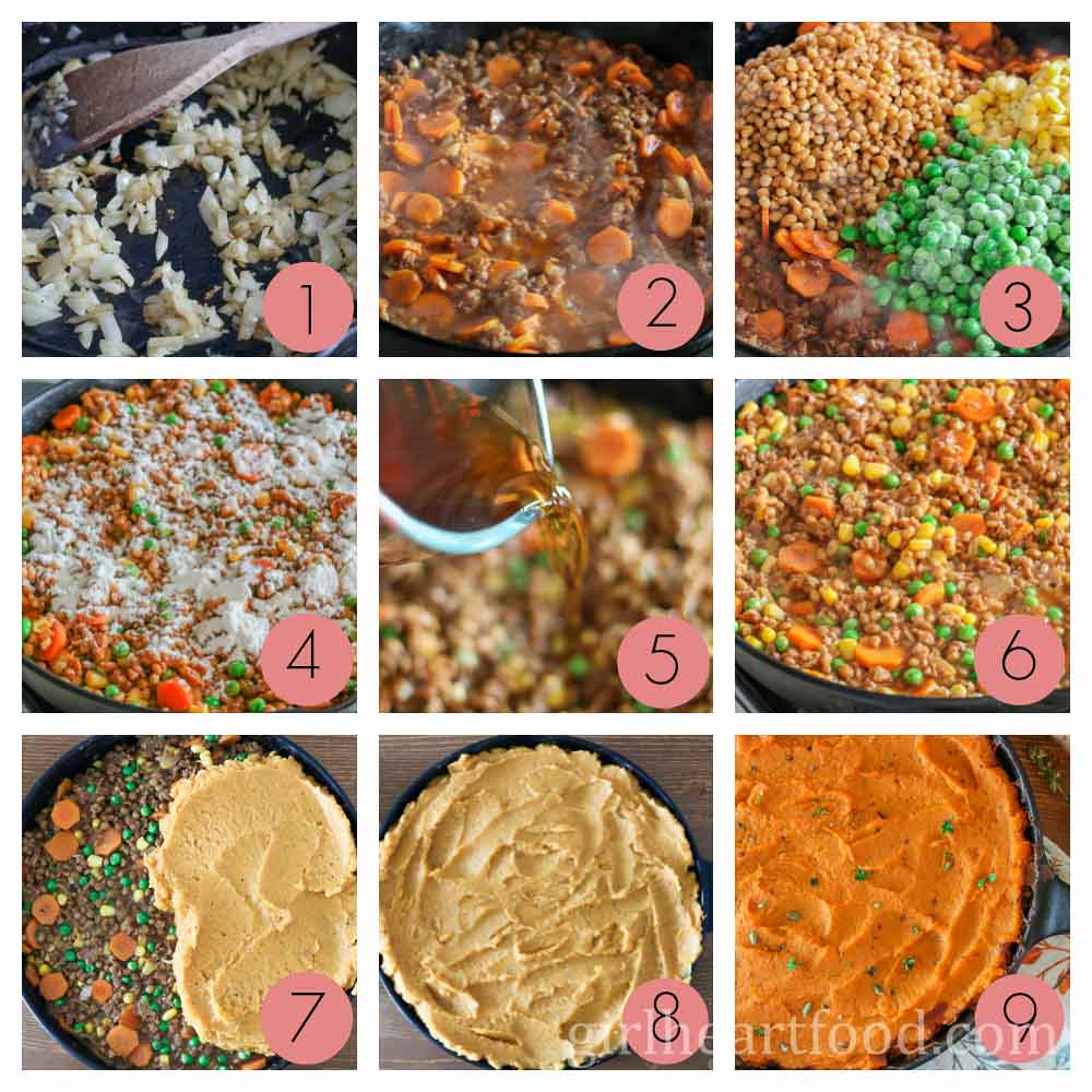 A photo collage on how to make shepherd's pie.