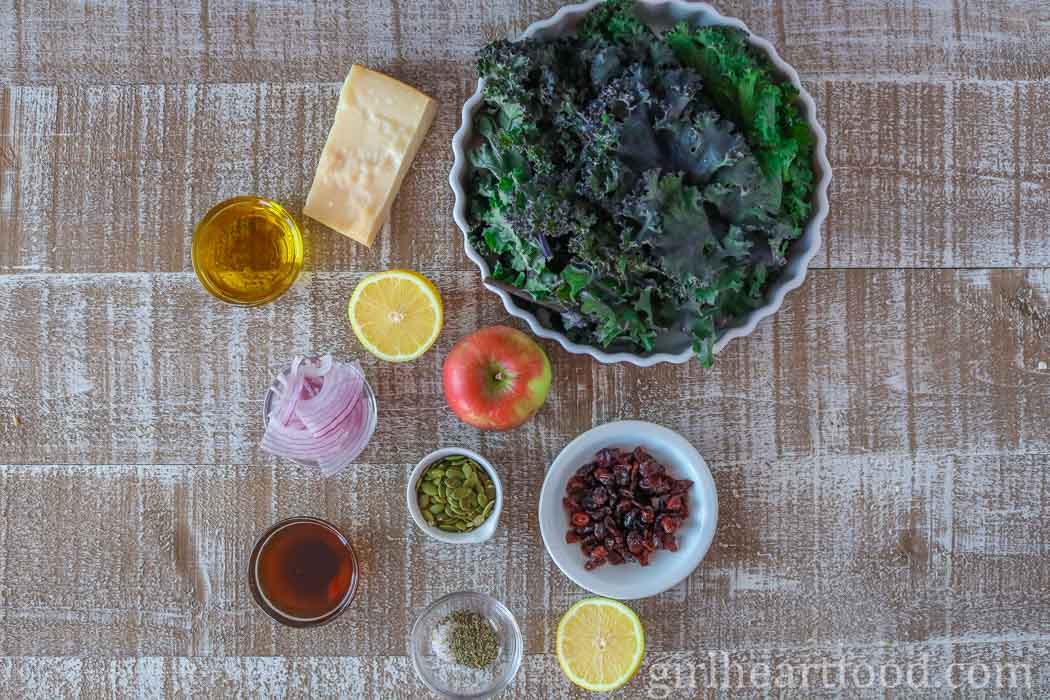 Ingredients for kale and apple salad.