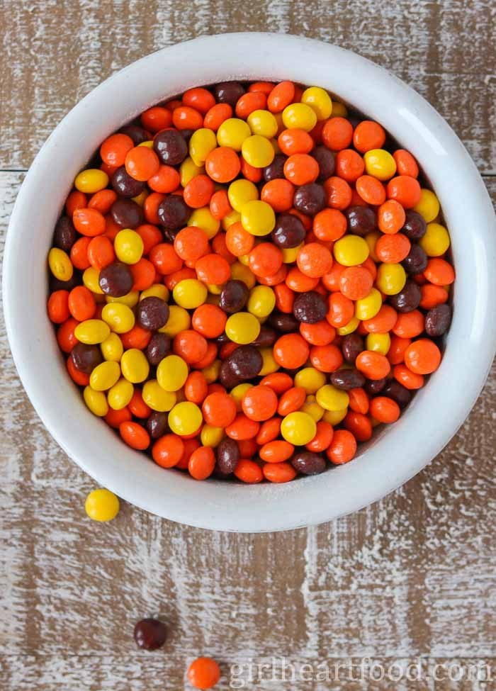A bowl of Reese's candy.