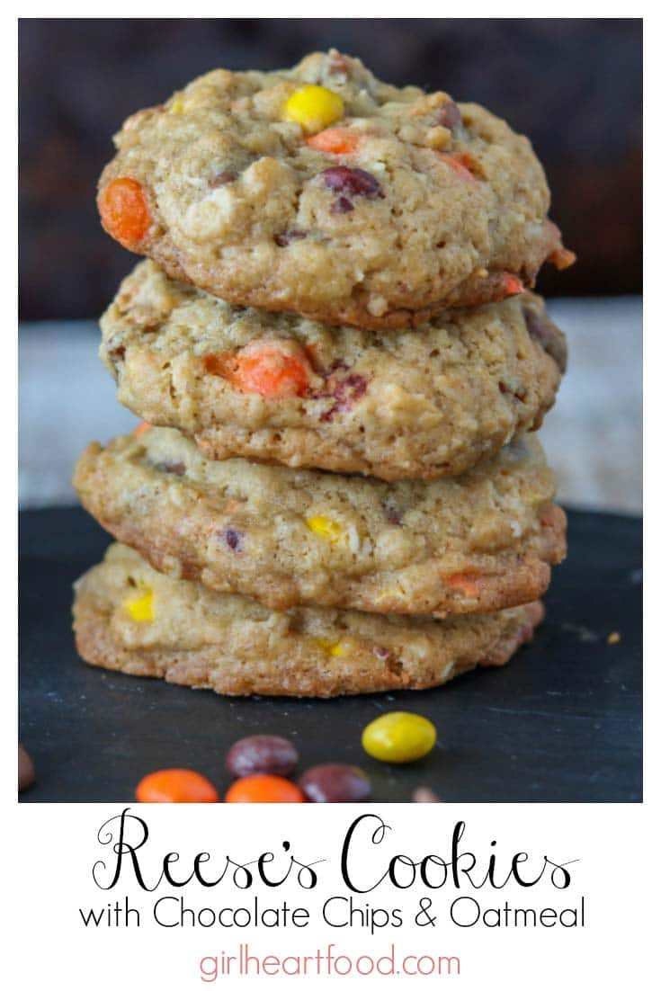 A stack of Reese's cookies alongside some candy.