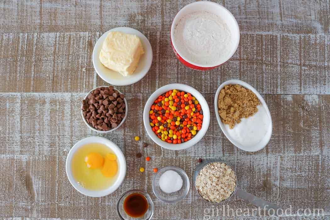 Ingredients for reese's cookies