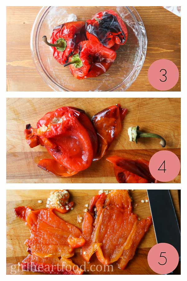 A photo collage on how to roast bell peppers.