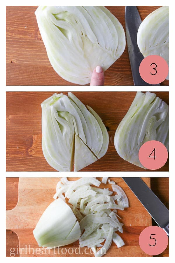 Photo collage on how to cut fennel.