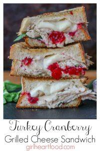 Stack of turkey cranberry sandwich.