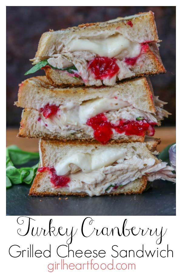Have leftover turkey?  This Turkey Cranberry Sandwich is your answer!  This grilled cheese sandwich combines lots of turkey, tart cranberry sauce, creamy goat cheese and melty mozzarella for one comforting bite! #leftoverturkey #turkeysandwich #turkeycranberry #grilledcheese #grilledcheesesandwich