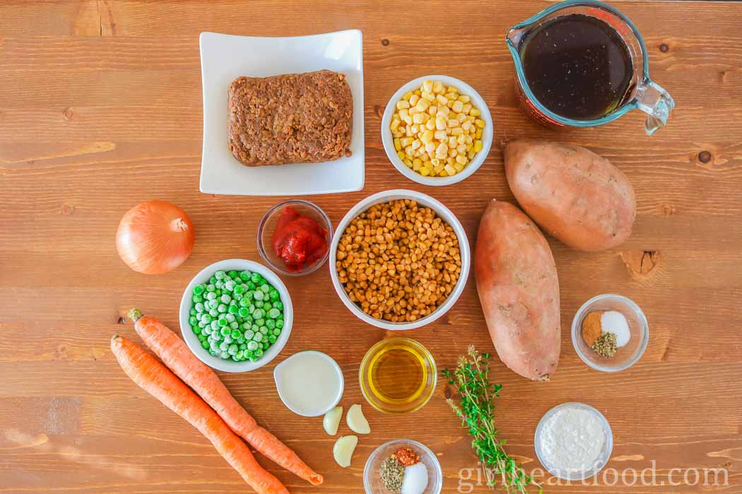 Ingredients for meatless shepherd's pie with sweet potato.