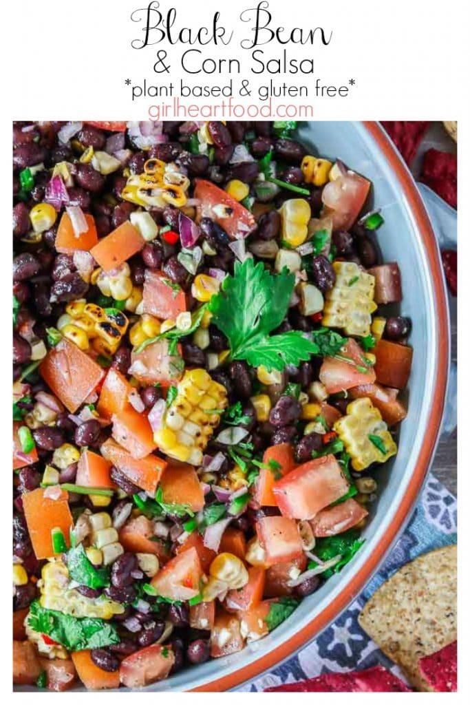 Bowl of black bean and corn salsa.
