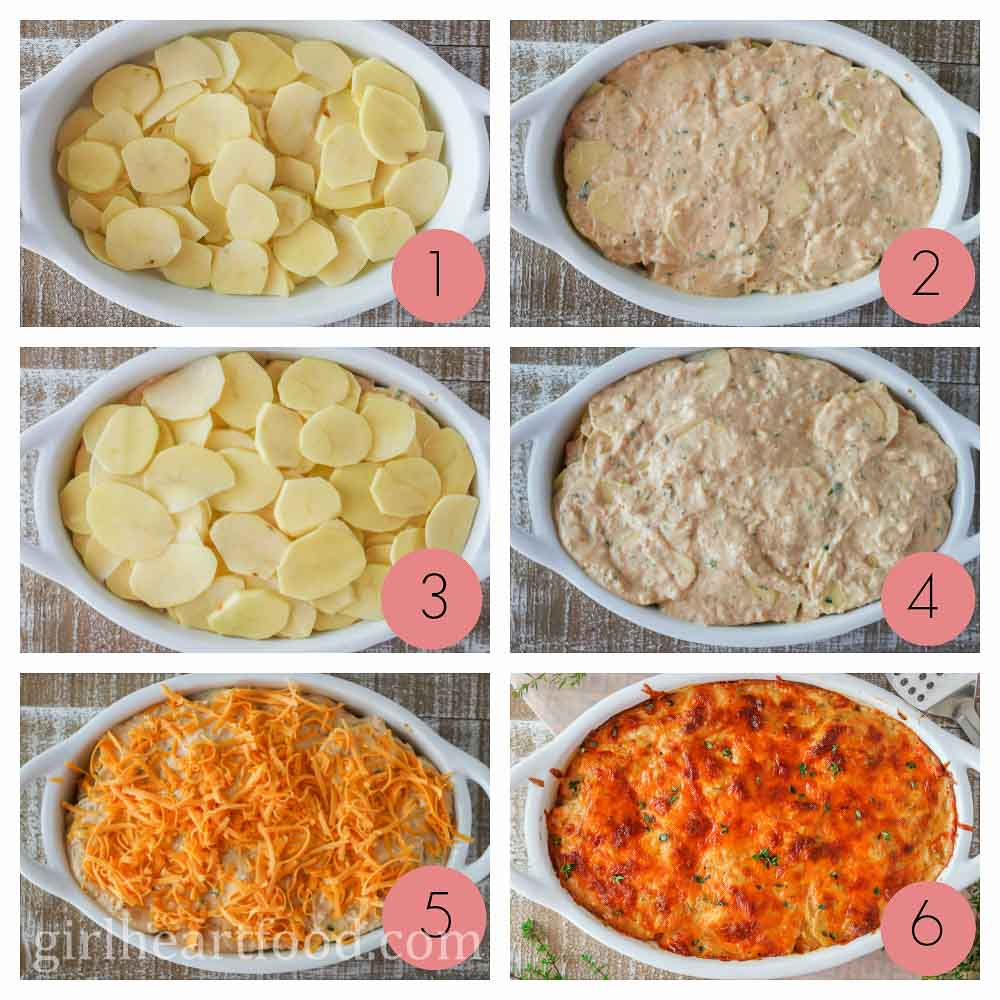 A photo collage of how to make scalloped potatoes.