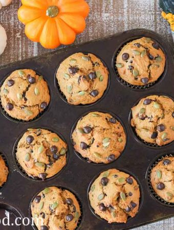 A pan chocolate chip pumpkin muffins.